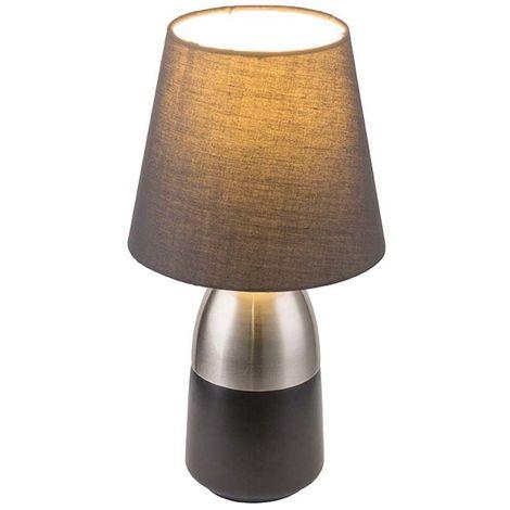 Design Nacht Tisch Lampe schwarz Schlaf Wohn Zimmer Textil Touch Lese Leuchte grau Globo 24135N