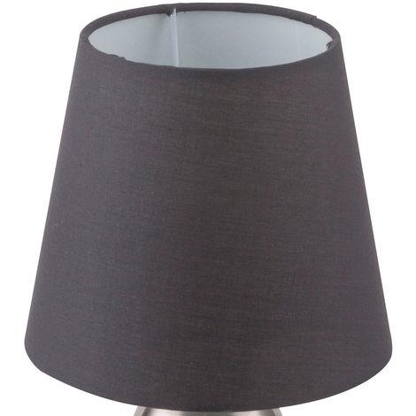 Design Nacht Tisch Lampe schwarz Schlaf Wohn Zimmer Textil Touch Lese Leuchte grau im Set inkl. LED Leuchtmittel