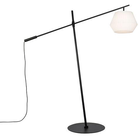 Design outdoor floor lamp black IP44 with white shade - Virginia