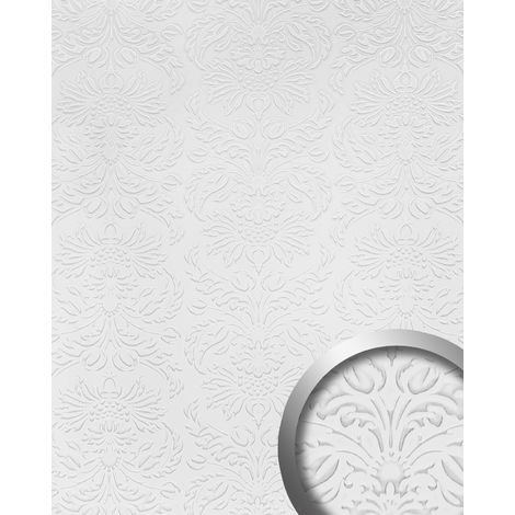 Design panelling leather look WallFace 19771 Antigrav IMPERIAL White smooth Wall panel baroque style matt white 2,6 m2