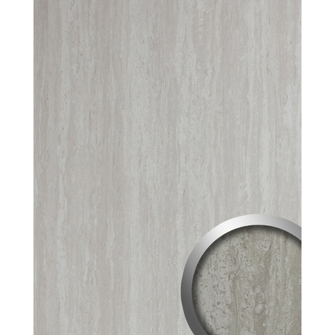 Design Panelling limestone look WallFace 19339 TRAVERTIN smooth Decor Panel stone look glossy self-adhesive grey white 2.6 m2