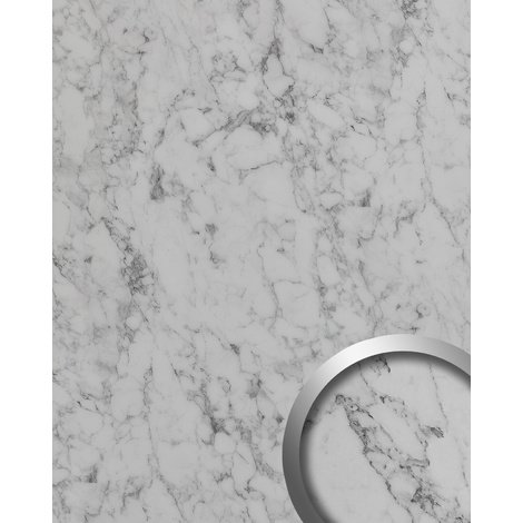 Design Panelling marble look WallFace 19338 MARBLE WHITE smooth Decor Panel stone look matt self-adhesive white grey-white 2.6 m2