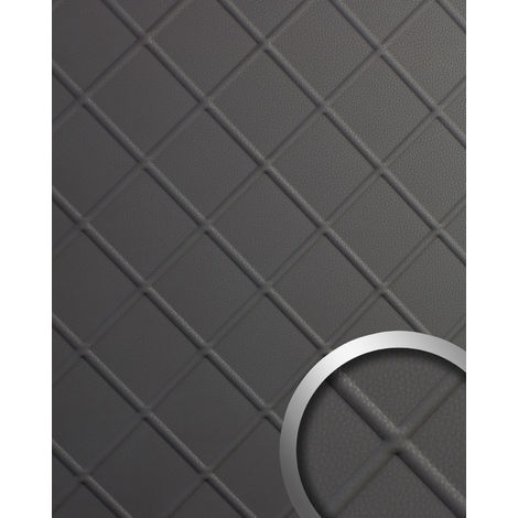 Design panelling nappa leather look WallFace 19764 Antigrav CORD Charcoal Light smooth Wall panel leather look matt grey 2,6 m2