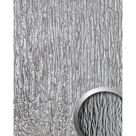 Design Panelling used look WallFace 19346 CRASHED MIRROR embossed Decor Panel metal look glossy self-adhesive silver 2.6 m2