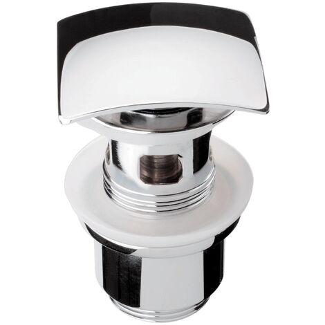 Design Pop Up Ventil | SQUARE | Waschbeckenventil | Ablaufventil | Für Waschtische mit Überlauf | Chrom | 1 ¼ Zoll