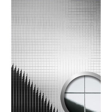 Design revêtement mural auto-adhésif Aimantin Miroir WallFace 10644 M-STYLE en mosaïque souple argent 0,96 m2