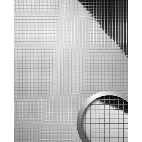Design revêtement mural auto-adhésif Aimantin Miroir WallFace 10657 M-STYLE en mosaïque souple argent 0,96 m2