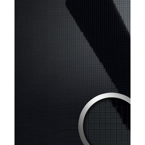 Design revêtement mural auto-adhésif Aimantin Miroir WallFace 13475 M-STYLE en mosaïque souple noir brillant 0,96 m2