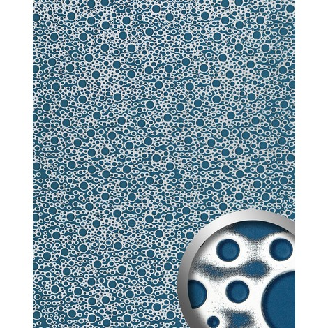 Design revêtement mural auto-adhésif Aimantin Style Bulles WallFace 11712 BUBBLE bleu argent 2,60 m2