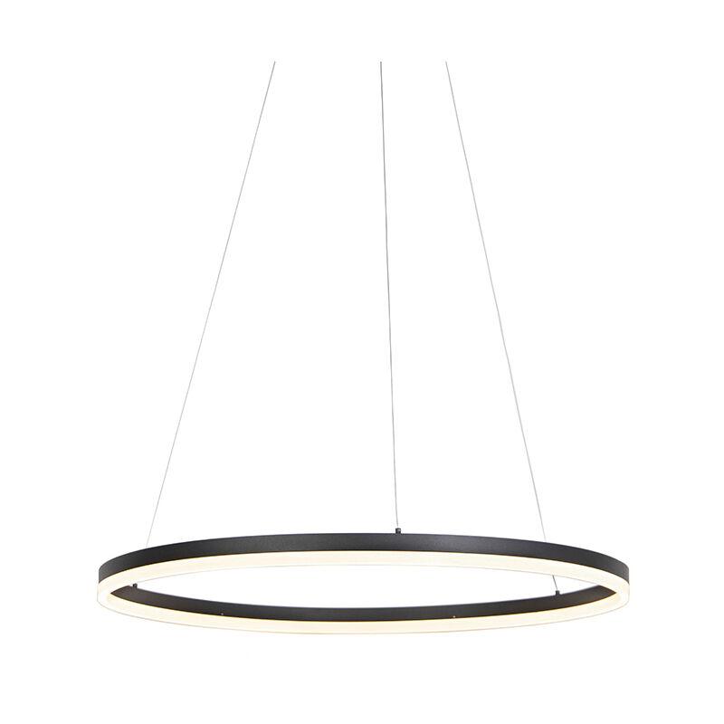 Qazqa - Design Ring Hängelampe schwarz 80cm inkl. LED und Dimmer - Anello