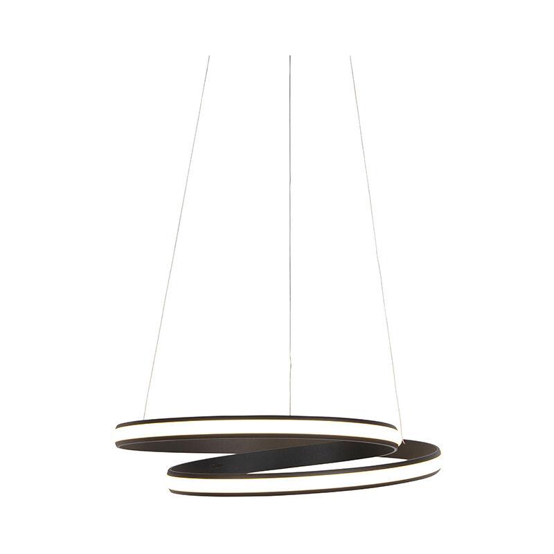Qazqa - Design Hängelampe schwarz 55 cm inkl. LED 3 Stufen dimmbar - Rowan