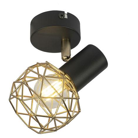 Design Spot de Plafond noir avec or ajustable - Mesh Qazqa Design Cage Lampe Luminaire interieur Rond