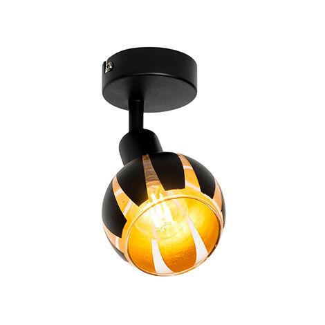Design Spot de Plafond noir avec or - Melone Qazqa Moderne Luminaire interieur Rond
