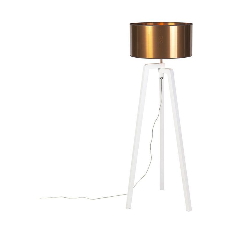 Design Stehleuchte weiß mit Schirm Kupfer 50 cm - Puros - QAZQA