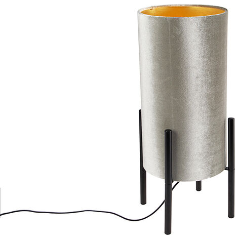 Design table lamp black velor shade taupe with gold - Rich