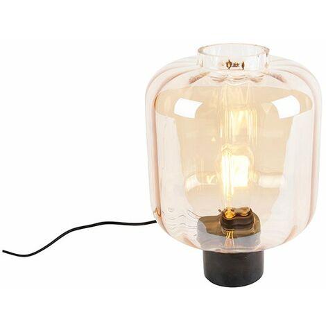 Design table lamp black with amber glass - Qara