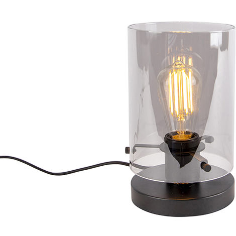 Design table lamp black with smoke glass - Dome
