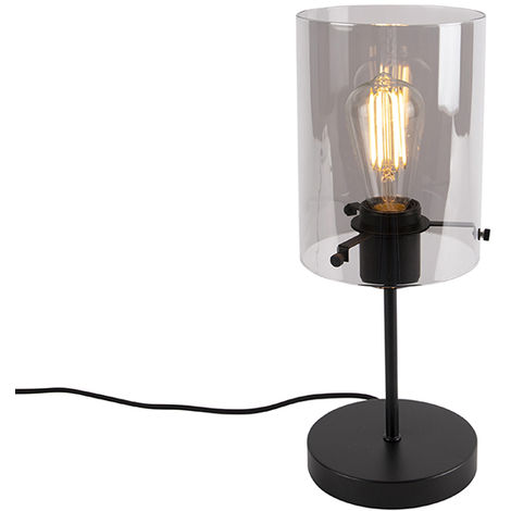 Design table lamp black with smoke glass on standard - Dome