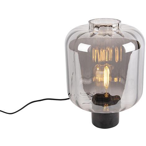 Design table lamp black with smoke glass - Qara