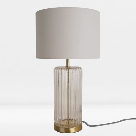Design Table Lamp in Clear Glass and Bronze Colour with Grey Woven Fabric Shade