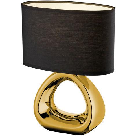 Design Textil Leuchte Keramik Nacht Schreib Tisch Lampe schwarz gold im Set inkl. LED Leuchtmittel