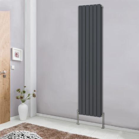 Designer 1800x408 Vertical Flat Double Panel Column Radiator Bathroom Heater Central Heating Anthracite