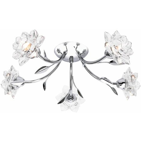 Designer 5 Arm Polished Chrome Ceiling Light Fixture with Floral Glass Shades by Happy Homewares