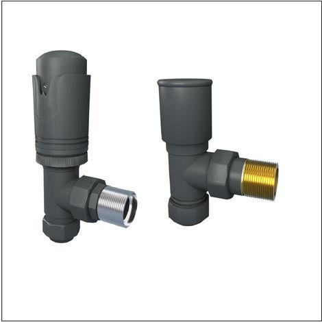Designer Angled 15mm Anthracite Thermostatic Radiator and Towel Rail Valves