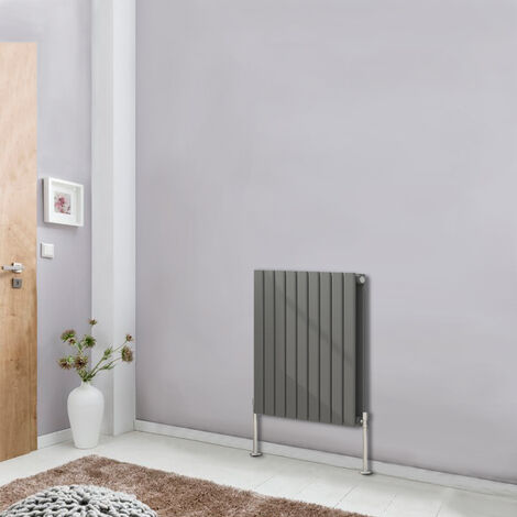 Designer Anthracite Horizontal Column Radiator Bathroom Heater 600x612 Central Heating Double Flat Panel