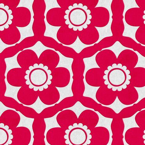 Designer Barbara Hulanicki Funky Flora Geometric Candy Pink Real Flock Wallpaper (Was £80)