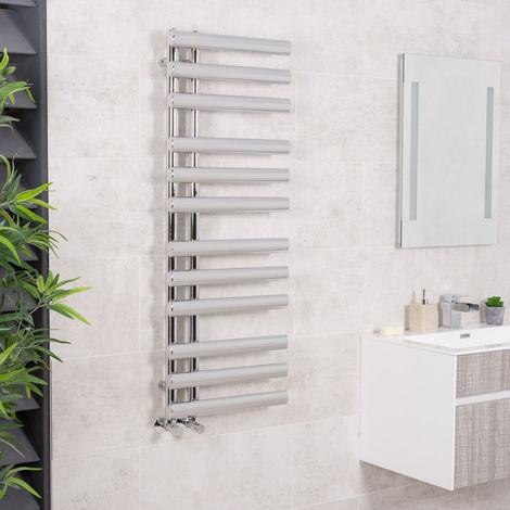 Designer Bathroom Oval Heated Towel Rail Radiator Rad 1200 x 450mm Chrome