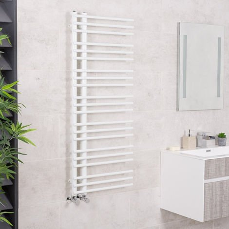 "main image of ""Designer Bathroom Round Heated Towel Rail Radiator Rad 1250 x 500mm White"""