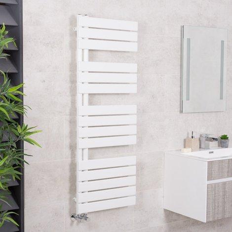 Designer Boutique Style Flat Heated Towel Rail Radiator - GREY - WHITE - CHROME
