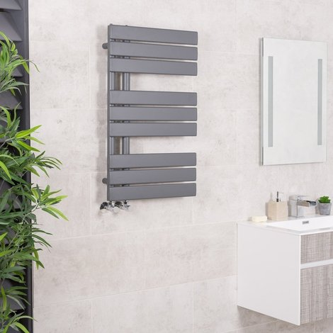 Designer Boutique Style Flat Heated Towel Rail Radiator - GREY - WHITE - CHROME