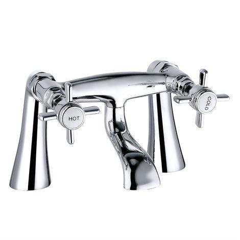 Designer Brass Bath Filler Tap Chrome Bathroom Dual Lever Action