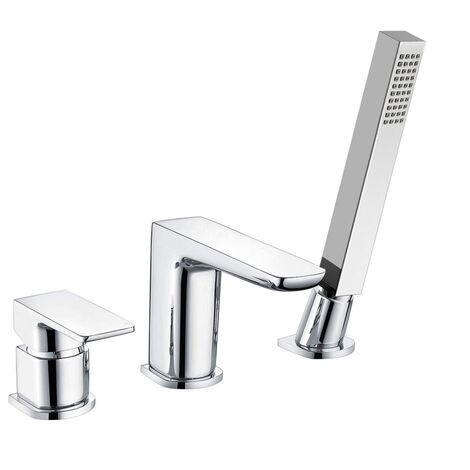 Designer Chrome Bath Filler Taps with Shower Handset Mixer 3 Tap Hole