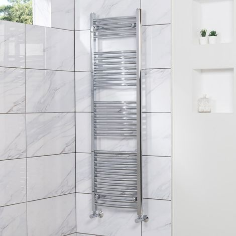 Fjord 1500 x 450mm Curved Chrome Heated Towel Rail - please select - please select