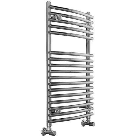 Designer Curved Chrome Bathroom Heated Towel Rail Rad Radiator – 10YR Guarantee