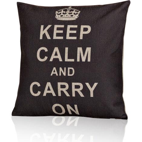 Designer Cushion Bench Cushion Shabby Saying Keep Calm Filling Cushion Upholstery Vintage