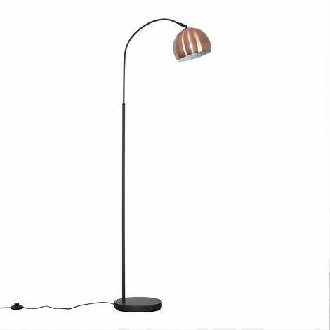 Designer Dark Grey Curved Stem Floor Lamp + Brushed Copper Dome Shade