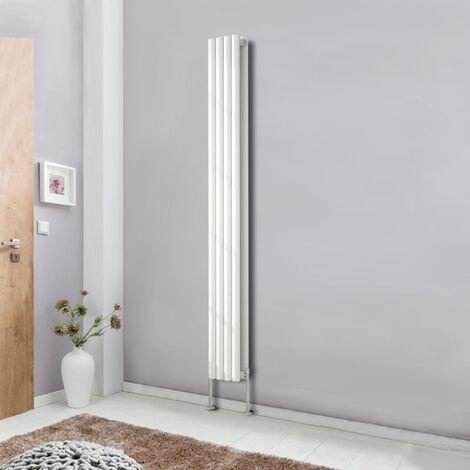 Designer Double Panel Oval Column Radiator 1800x236mm White Vertical Bathroom Central Heating