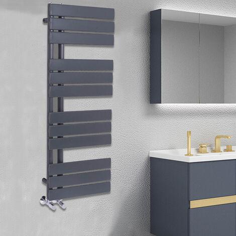 Designer Flat Towel Rail Radiator Bathroom Central Heating Anthracite 1124 x 500mm