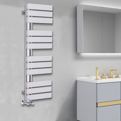 Designer Flat Towel Rail Radiator Bathroom Central Heating Chrome 1124 x 500mm