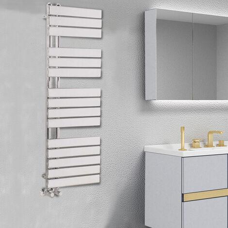 Designer Flat Towel Rail Radiator Bathroom Central Heating Chrome 1380 x 500mm