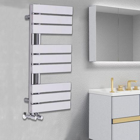Designer Flat Towel Rail Radiator Bathroom Central Heating Chrome 824 x 500mm