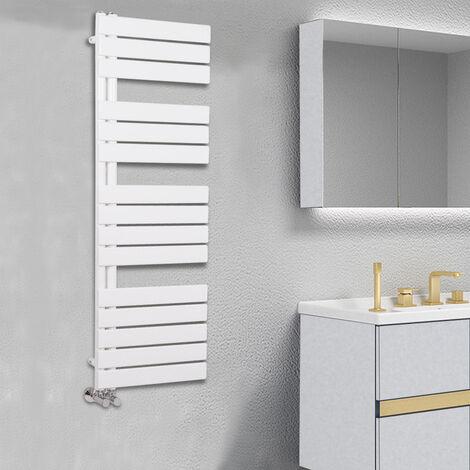 Designer Flat Towel Rail Radiator Bathroom Central Heating White 1380 x 500mm