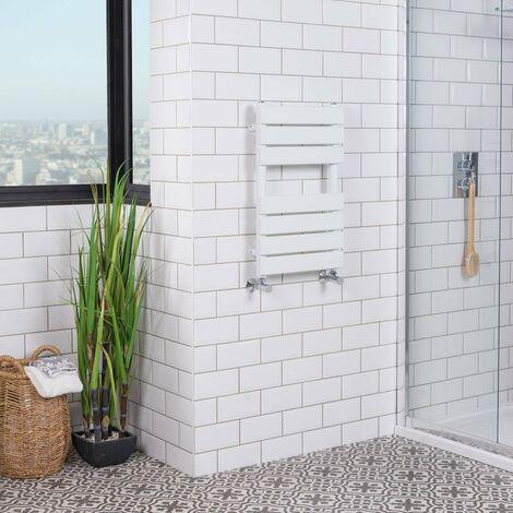 Juva 650 x 400mm White Flat Panel Heated Towel Rail -