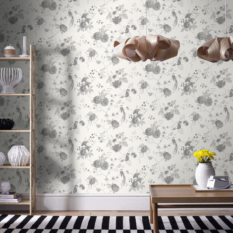 Designer Julian Macdonald Exotica Floral White/Silver Wallpaper