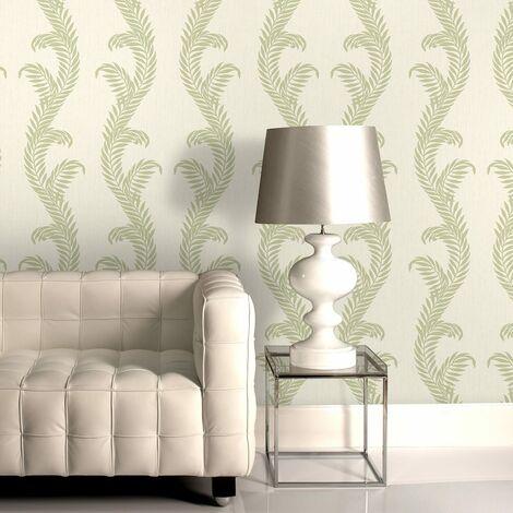 Designer Julian Macdonald Venus Cream/Green Glitter Wallpaper (Was £25)