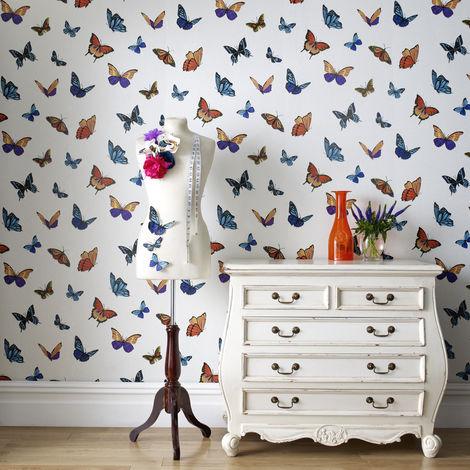 Designer Julien Macdonald Flutterby Glitter Shimmer Butterfly Print Wallpaper